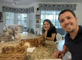 this is Jasper!  we took care of jasper and roxy for 15 days in lake worth at lee and dan's house. it was a wonderful two weeks with these super cute cats.  Lee and Dan left feedback on the app about our time at their home.
