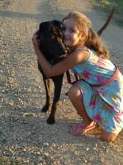 Tara in Australia with our gorgeous dog companion Mocha!