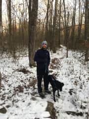 Me and Grizz hiking in the snow (his favorite)