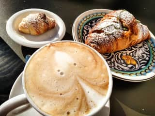 Coffee and fresh pastries for breakfast at a favourite Caffè near the house.