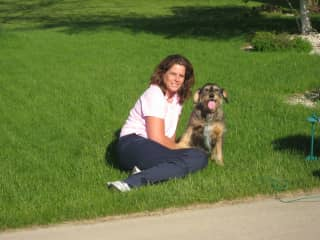 Lori and Riley (my beloved rescue who passed away at age 16 in 2017)