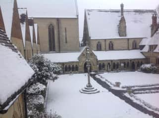 The Old Convent ( quad ) in the snow !