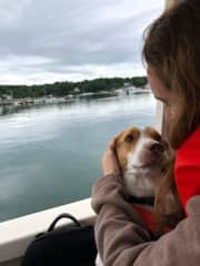 Killian with an adoring Shiloh on a family trip to Maine