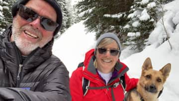 Don, Sue and Trudi (our granddog), playing in the snow