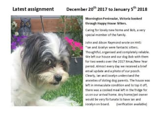 Latest House sit reference from John and Alison Raymond Jan 2018