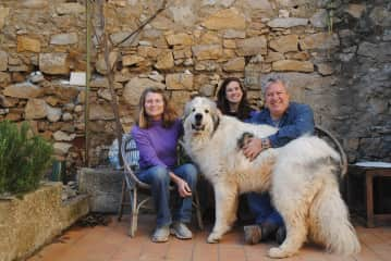 Cheryl, Mikayla and Mike with Bob the Ambassadog, a Great Pyrenees who lived in the Great Pyrenees.