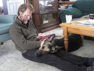 Cuddles are important! Geoff  and our house-sit pet Max