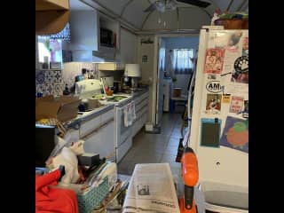 galley kitchen and laundry room