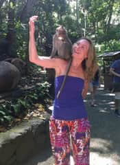 When the monkey first jumped on my shoulder it was a bit shocking. We got along just fine, however, since I had a banana