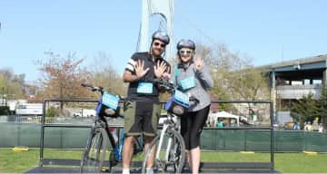 At the end of the Verrazano-Narrows after the Five Boro Bike Tour in NYC