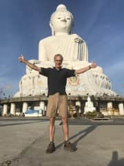 Frank in Phuket, Thailand, on a (nother) hike up the mountain to see Big Buddha