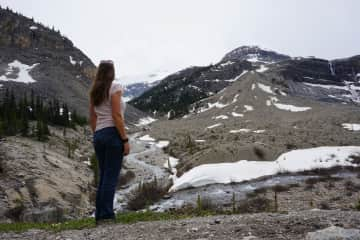 This is me on a hike to Nugget Falls, far right of the picture, in the Canadian Rockies.