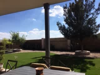 Backyard view from patio.
