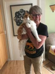 Jan with our cat Ginger!