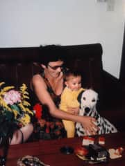My mother and me with our dog Ginn.