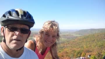 Jeff and Carolyn cycling in Ottawa.