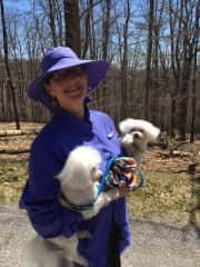 Di Ross and her rescue lap dogs Dude and Minky