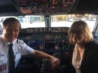 Anthony and Frances on retirement flight
