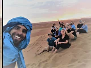 In the Sahara, Morocco with my other son Louis, richard and our friends