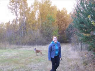 Ona walk to the forest with our previous dog (R.I.P). Such a lively soul!