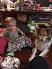 My granddaughter and my dog Punkin.