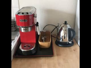Coffee and tea station.