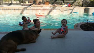 Pool with Maddie playing lifeguard