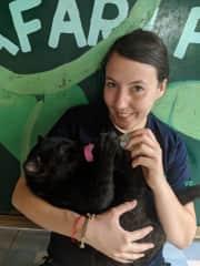 Volunteering with animals. Me bottle feeding our baby black jaguar cub safera
