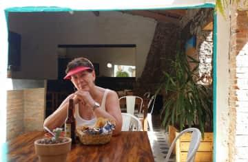 Linda enjoying fresh guacamole and chips in Ajijic, MX