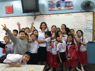 Me with my 4th grade class in Chiang Mai, Thailand on the last day of school.  It was a busy year and good to have a break but sad to say goodbye!