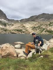 Taking Basil on a long hike in Colorado.