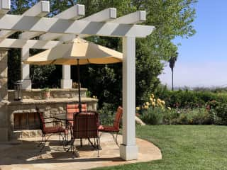 Guest bedroom stone patio