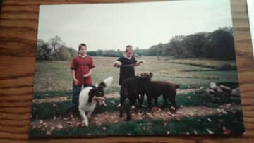 Our Lab,Taylor and friends with our sons when we he first arrived. He lived 14 1/2 yrs.