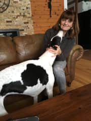 Tracey and Lily our greyhound