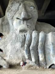 Charlemagne posing with the Fremont Troll