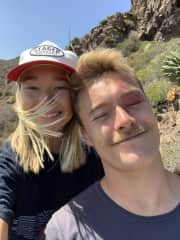 Jack and Sydney on a hike in San Diego.