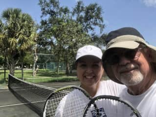 Bill and Tracy at the tennis courts in neighborhood