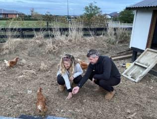Sian & Guy & chooks  Christchurch Plains, NZ 2021