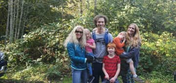 Me on the left with my son, daughter in law and grandkids.  4th one is in son's pack.