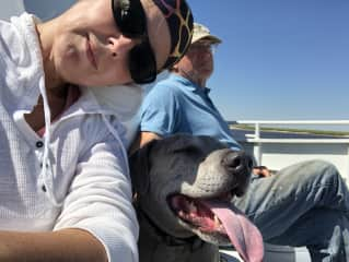 Connie, Kip and Cosmo the Catahoula on a ferry to a remote Georgia island getaway.