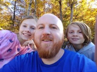 Sara, Matt, and David Hiking in Arkansas