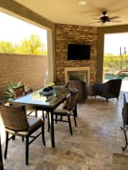 Patio w/fireplace & television