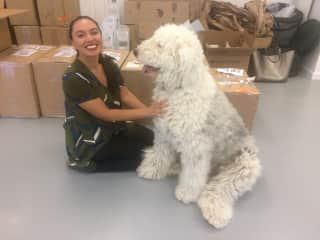 Ericka at her manufacturing space making friends