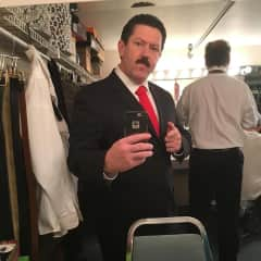 """I act in community theatre.  For this part I had to grow out the hair and mustache, then dye both to transform into a sleazy New York producer in """"Drop Dead""""."""