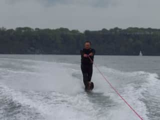 Me, Clive waterskiing in Pembrokeshire