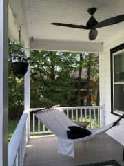 The left hand side of the porch, showing the hammock where it's lovely to just slouch under the fan…