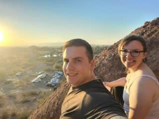 Hiking Hole in the Rock on the Papago Mountains.
