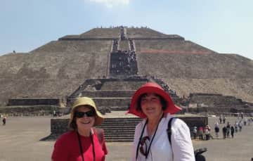 Elaine and Jean at Temple of the Moon, Teotihuacan, Mexico