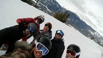 Snowboarding with friends