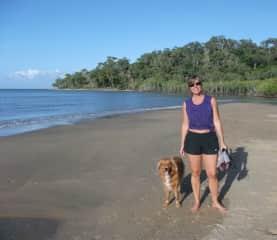 Alison on assignment, walking Timmy in Trinity Beach, Australia